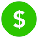 Green fundraising dollar sign